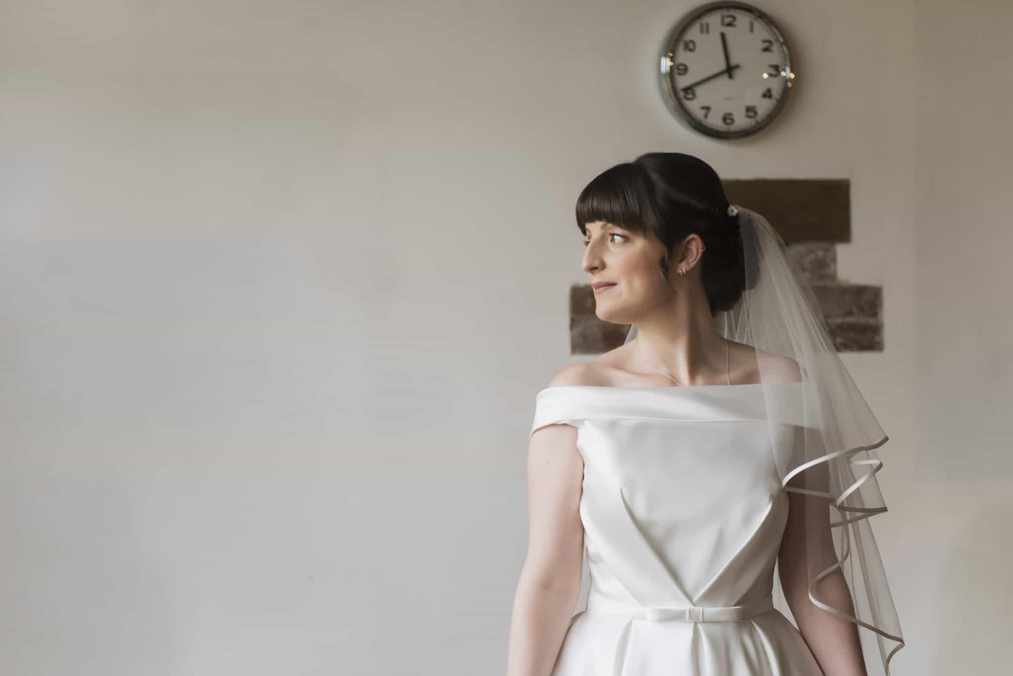 Bride looking to her left