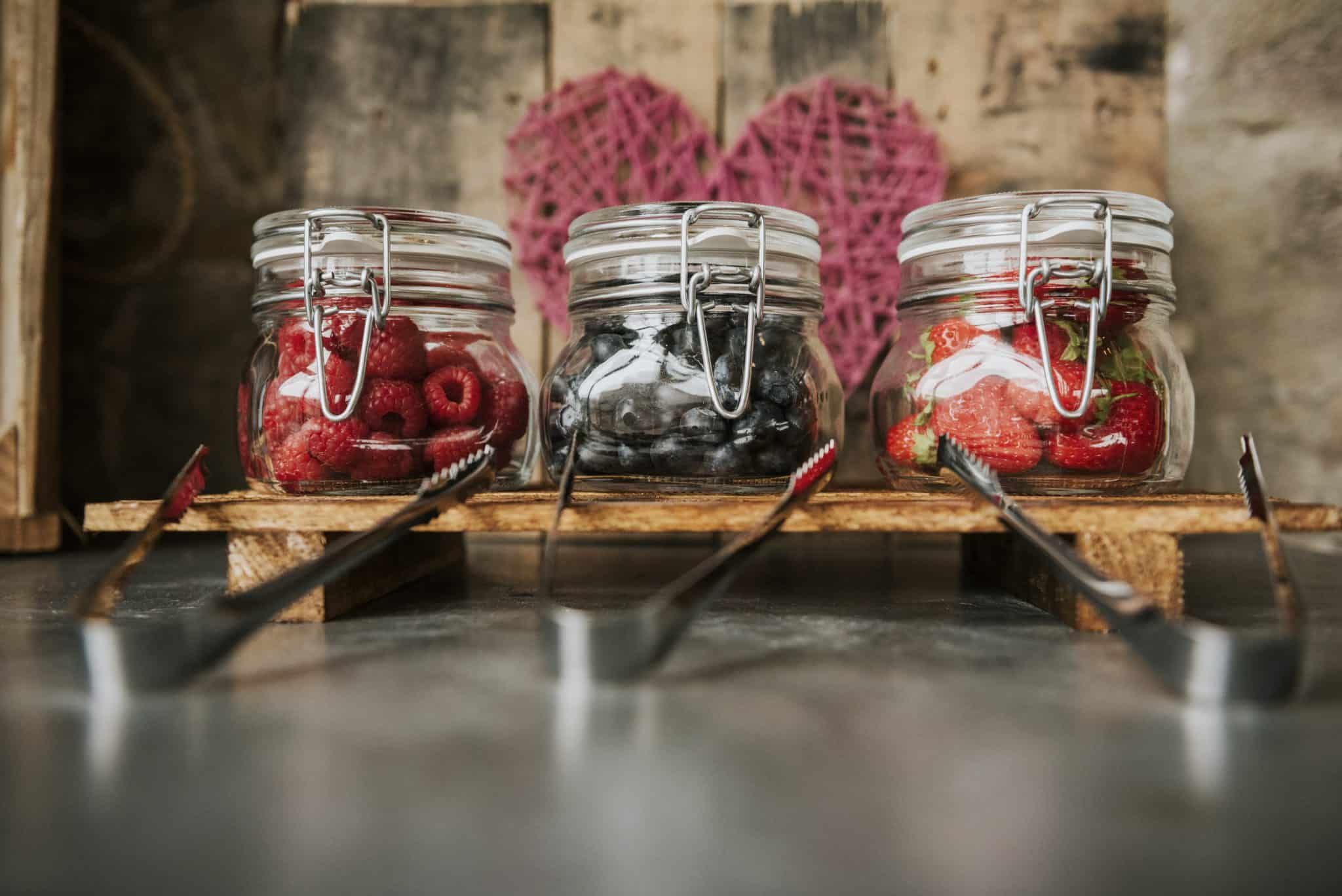 Jars filled with fruit